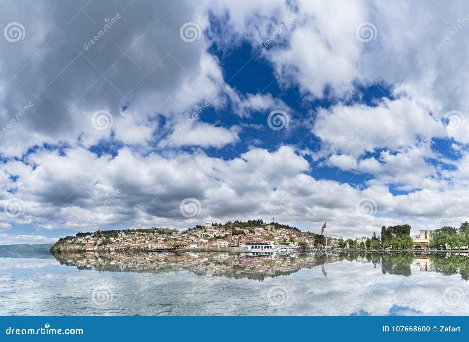 Πανοραμική άποψη της λίμνης της Οχρίδας με τη συμπαθητική αντανάκλαση νερού