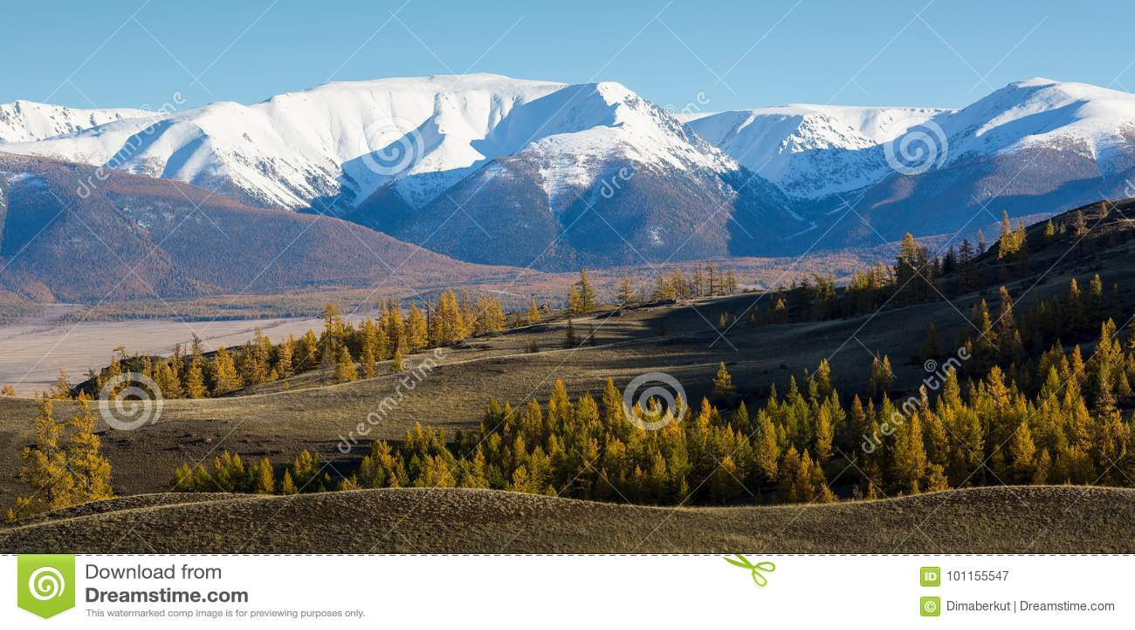 Πανοραμική άποψη των βουνών altai-Chuya της κορυφογραμμής, δυτική Σιβηρία