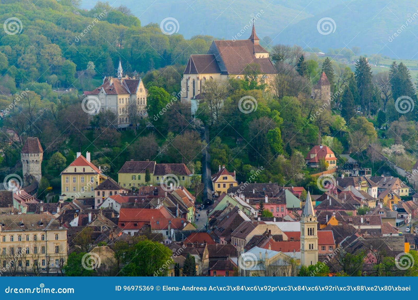 Πανοραμική άποψη Sighisoara, μεσαιωνική πόλη της Τρανσυλβανίας, Ρουμανία, Ευρώπη
