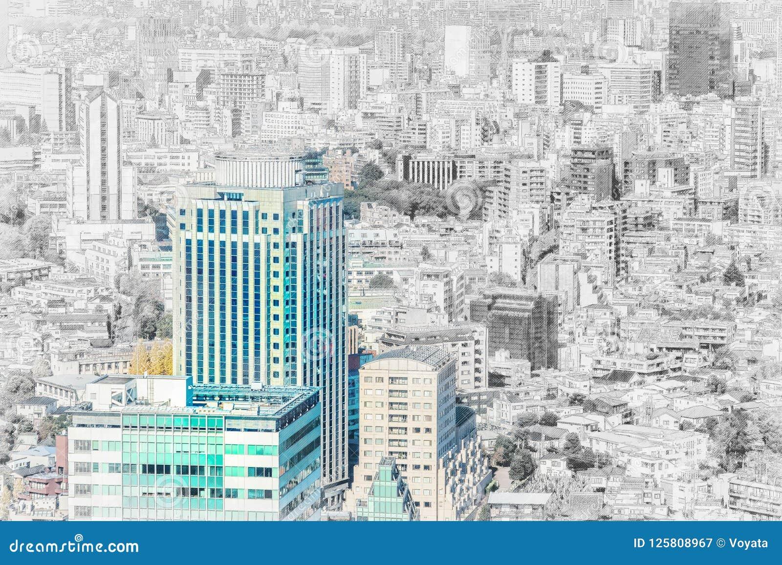 Πανοραμική εναέρια άποψη οριζόντων πόλεων στο σκίτσο μιγμάτων της Ιαπωνίας και την επίδραση απεικόνισης watercolor