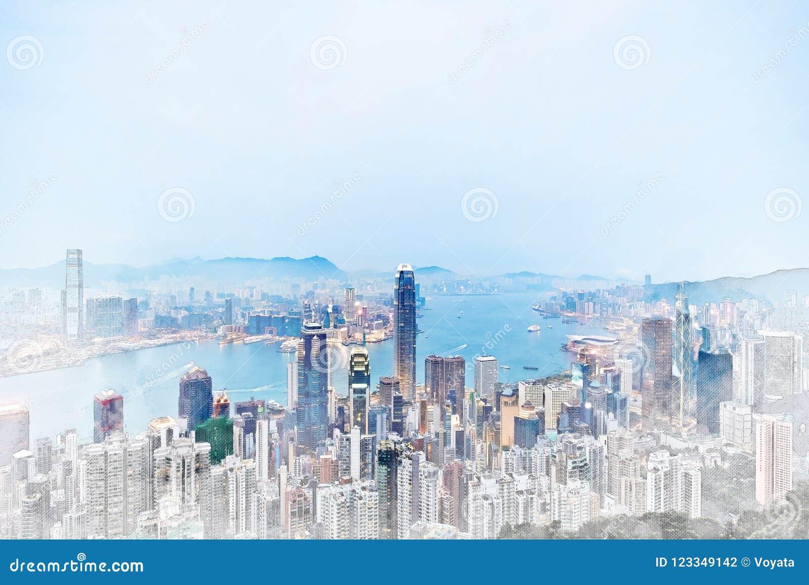 Πανοραμική σύγχρονη άποψη οικοδόμησης εικονικής παράστασης πόλης συρμένης απεικόνισης σκίτσων μιγμάτων Χονγκ Κονγκ της χέρι