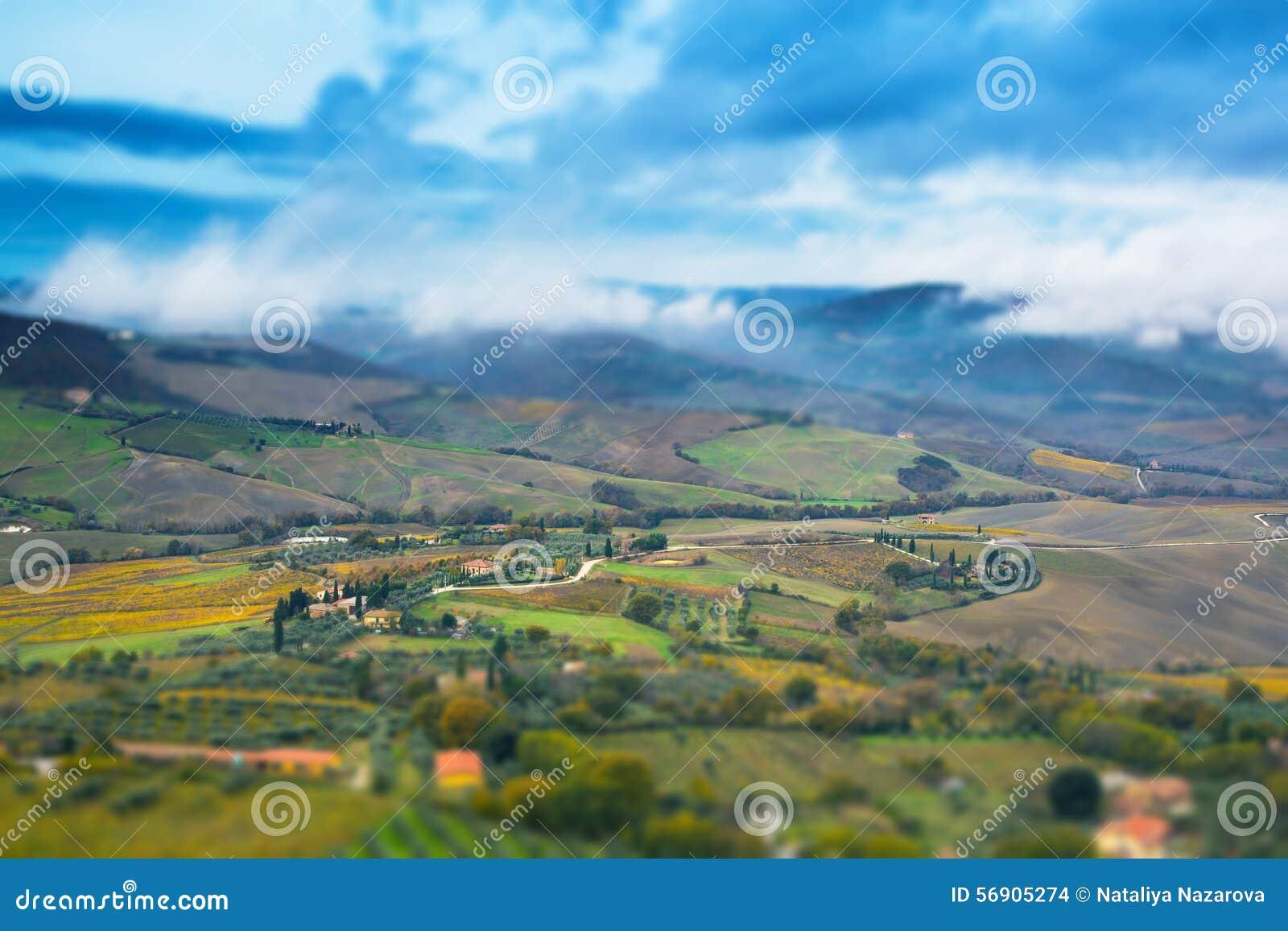 Πανοραμικό τοπίο της Τοσκάνης με τους τομείς, δέντρα και