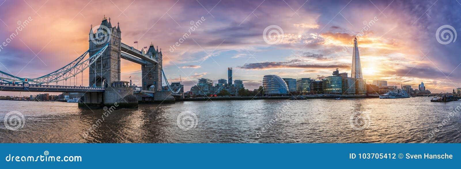 Πανόραμα από τη γέφυρα πύργων στον πύργο του Λονδίνου