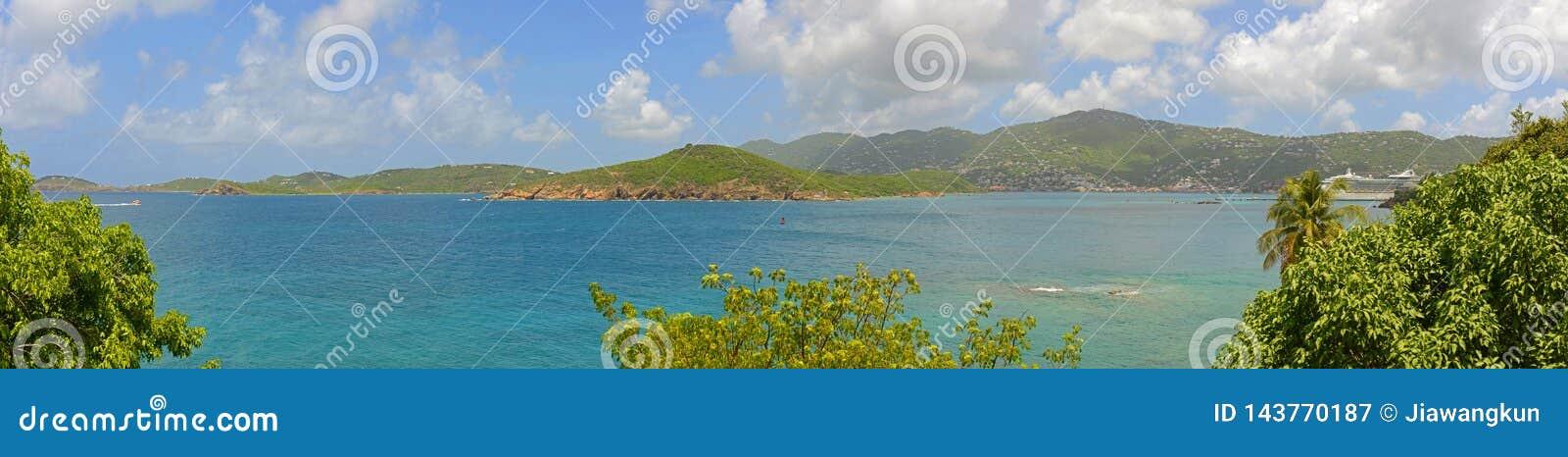 Πανόραμα κόλπων Pacquereau, ST Thomas, αμερικανικοί Παρθένοι Νήσοι
