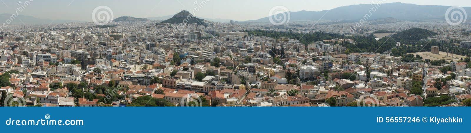 Download πανόραμα της Αθήνας εκδοτική εικόνες. εικόνα από βουνό - 56557246