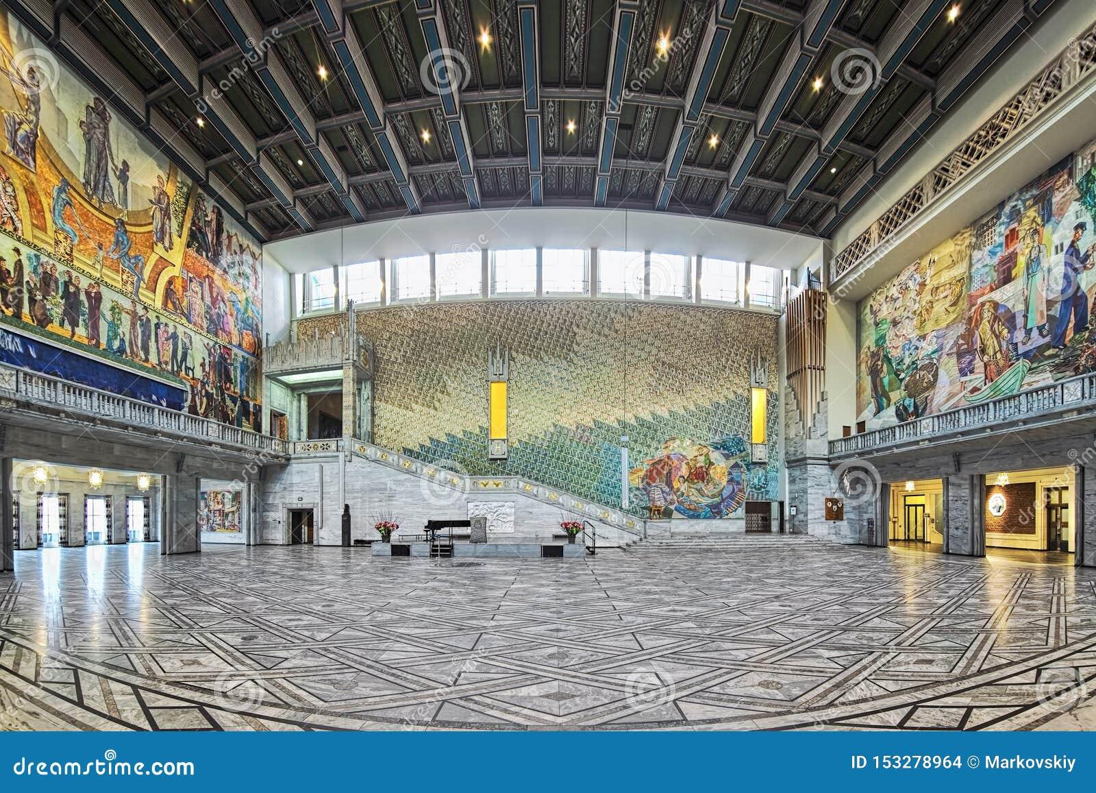 Πανόραμα της κύριας αίθουσας στο Όσλο Δημαρχείο, Νορβηγία