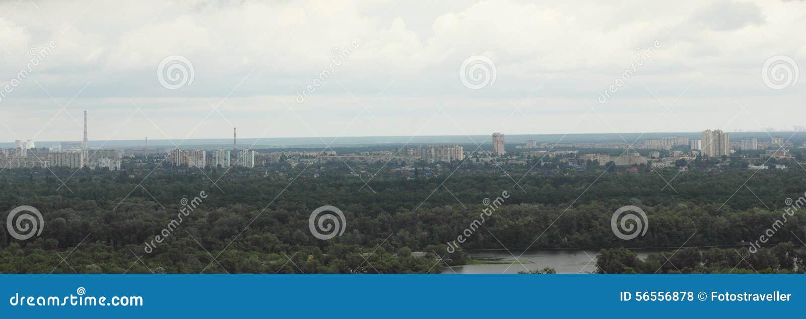 Download Πανόραμα της πόλης από το λόφο Στοκ Εικόνες - εικόνα από περιοχής, λόφος: 56556878