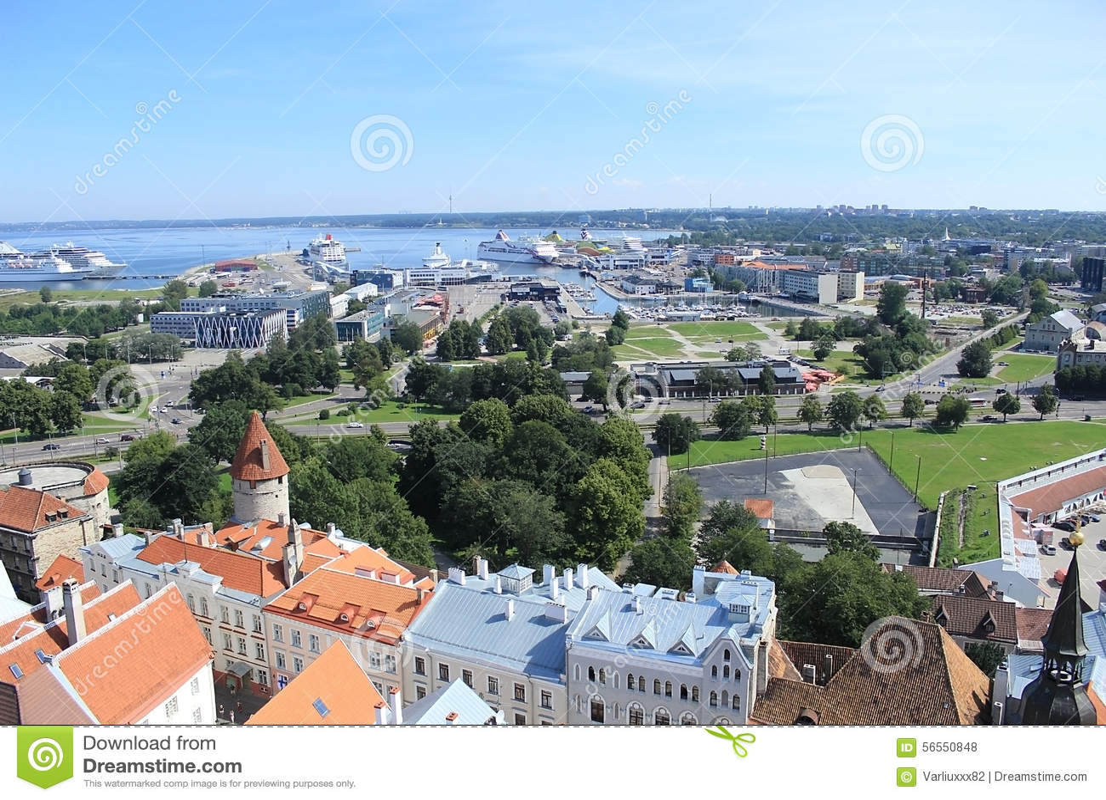 Download Πανόραμα της πόλης Ταλίν στοκ εικόνες. εικόνα από φύση - 56550848