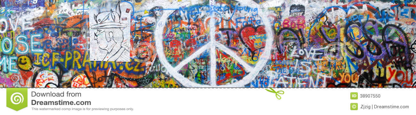 Πανόραμα 2 - τοίχος ειρήνης της Πράγας Lennon
