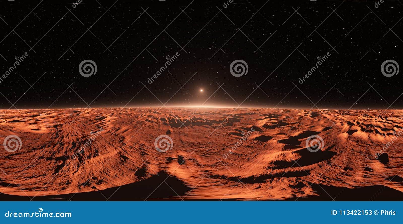 360 πανόραμα του Άρης-ομοειδούς ηλιοβασιλέματος Exoplanet, χάρτης περιβάλλοντος Προβολή Equirectangular, σφαιρικό πανόραμα