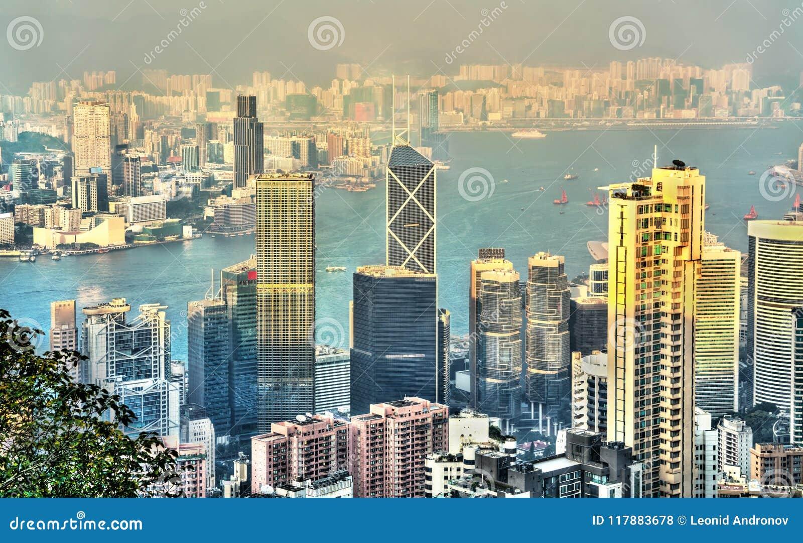 Πανόραμα του νησιού Χονγκ Κονγκ το βράδυ, Κίνα