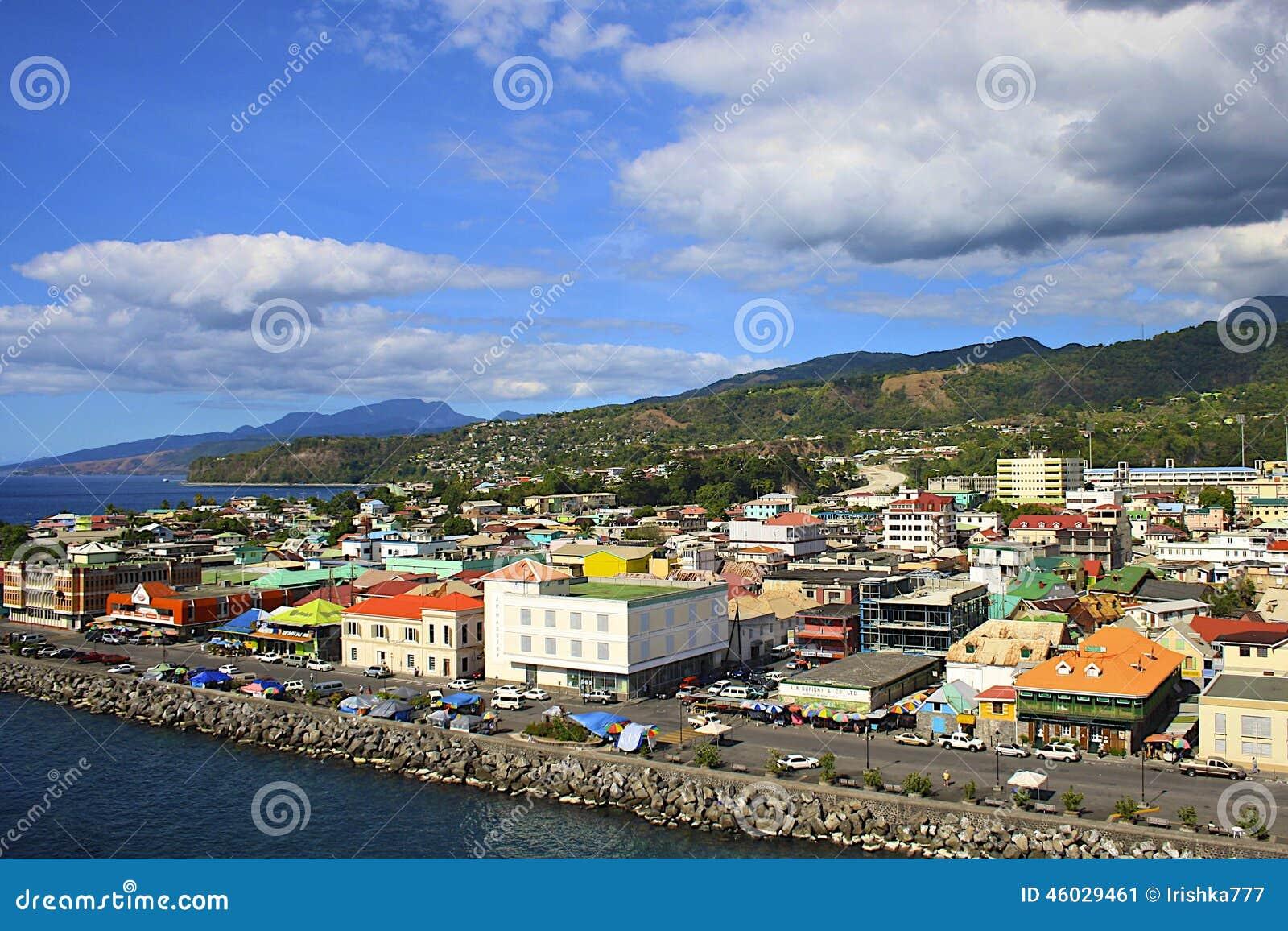 Πανόραμα Roseau, Δομίνικα, καραϊβική