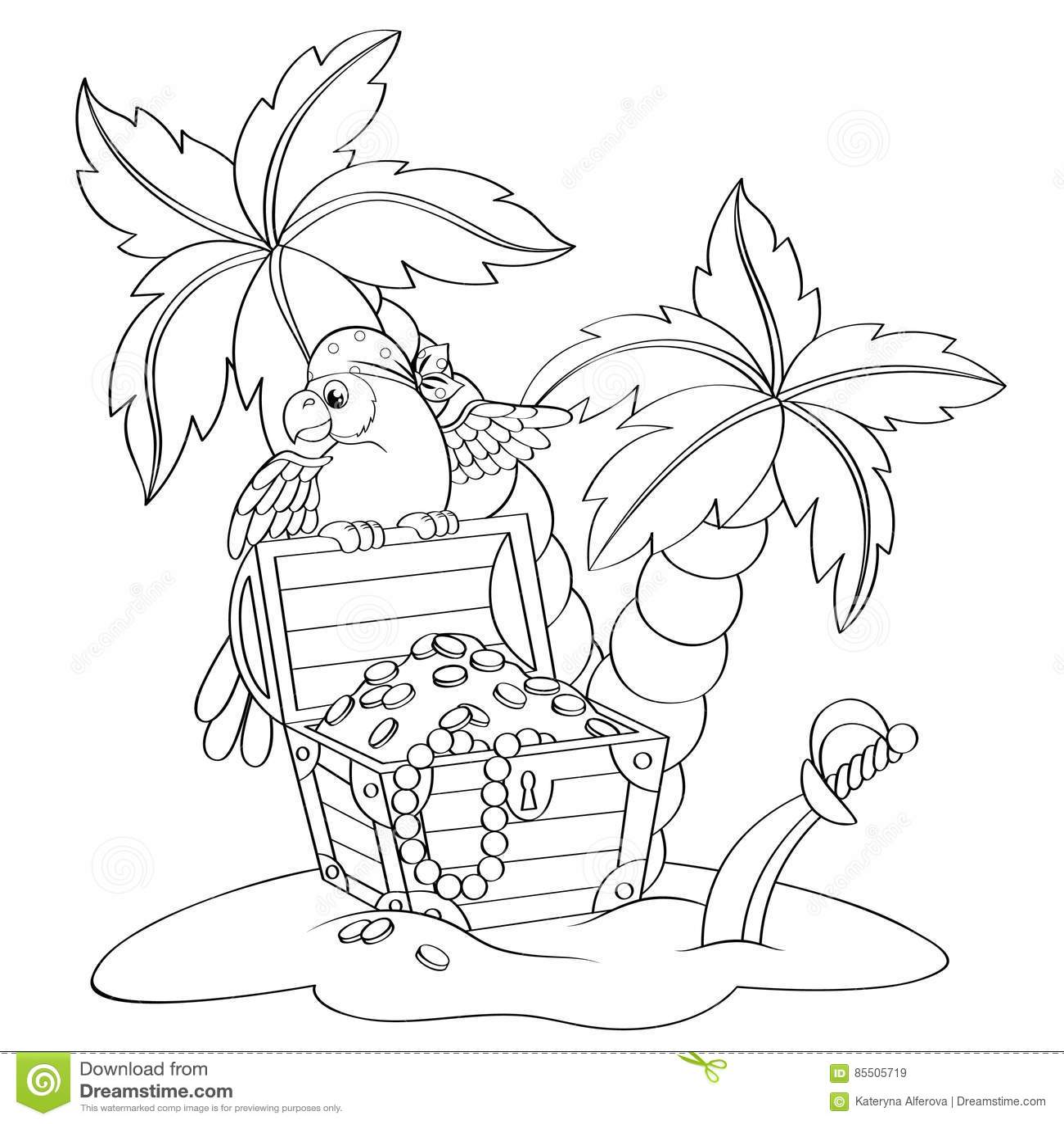 Παπαγάλος στην εγκαταλειμμένη στήθος παραλία θησαυρών πειρατών ` s με τους φοίνικες