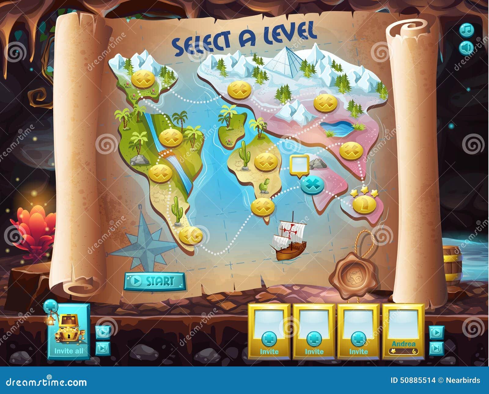 Παράδειγμα του ενδιάμεσου με τον χρήστη για να επιλέξει το επίπεδο για να παίξει το κυνήγι θησαυρών