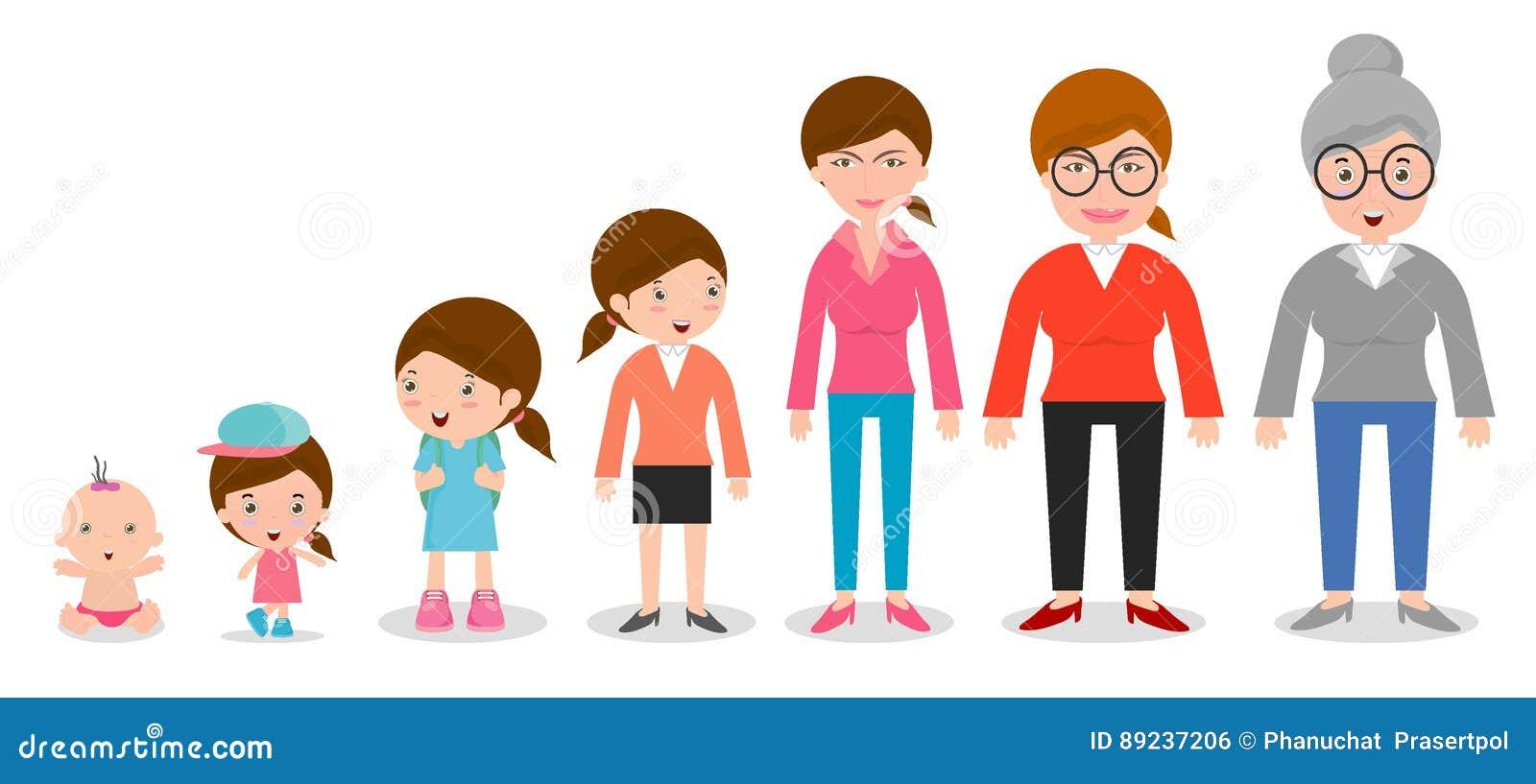 Παραγωγή των γυναικών από τα νήπια στους νεώτερους Όλες οι κατηγορίες ηλικίας απομονωμένος στο άσπρο υπόβαθρο, παραγωγή των γυναι