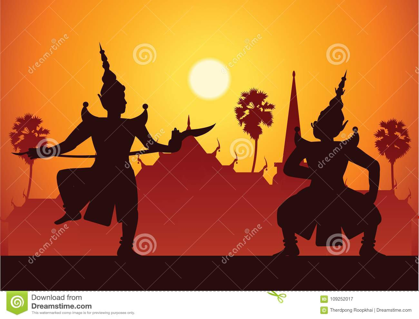 Παραδοσιακή τέχνη δράματος χορού ταϊλανδικού κλασσικού που καλύπτεται Ταϊλανδός