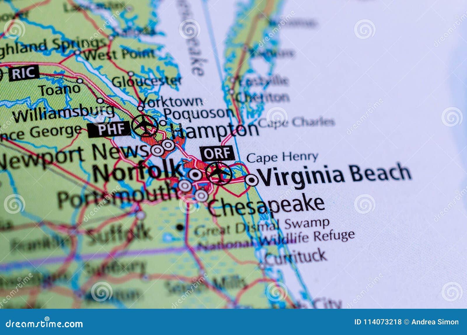 Παραλία της Βιρτζίνια, Βιρτζίνια στο χάρτη