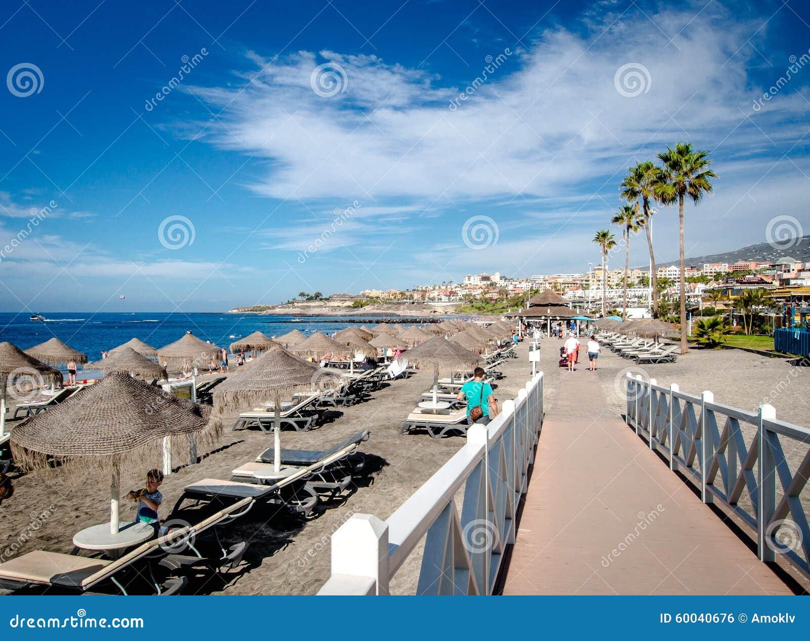 Παραλία Fanabe στη πλευρά Adeje Κανάρια νησιά tenerife