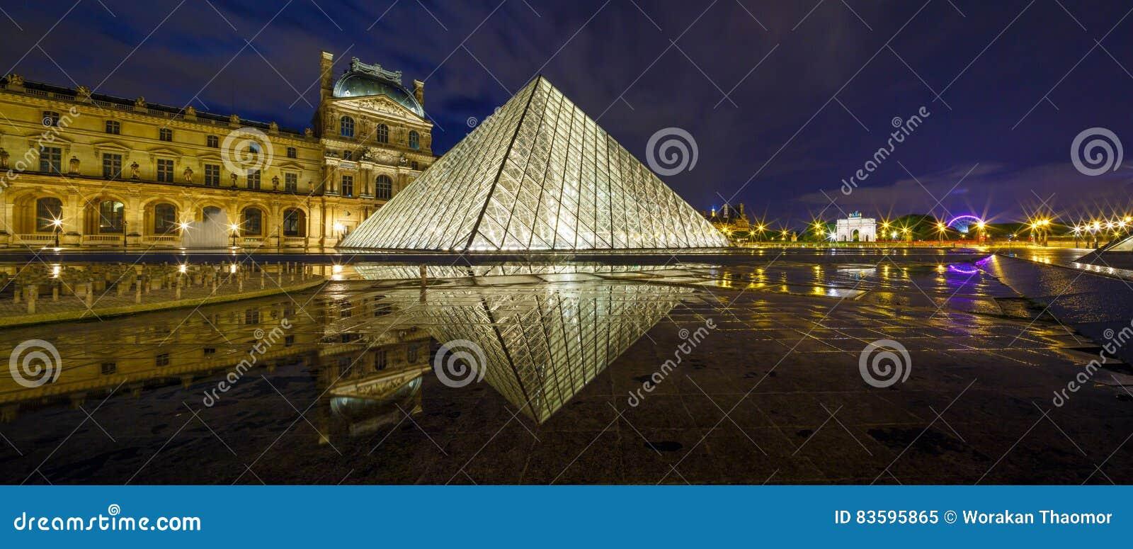 ΠΑΡΙΣΙ, ΓΑΛΛΙΑ - 18 ΜΑΐΟΥ 2016: Μουσείο του Λούβρου και η πυραμίδα στο λυκόφως