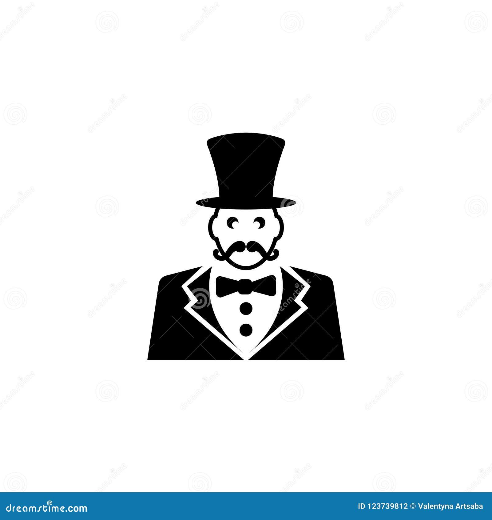 Παρουσηαστής προγράμματος τσίρκου, κύριος τελετής τσίρκων με το επίπεδο διανυσματικό εικονίδιο καπέλων
