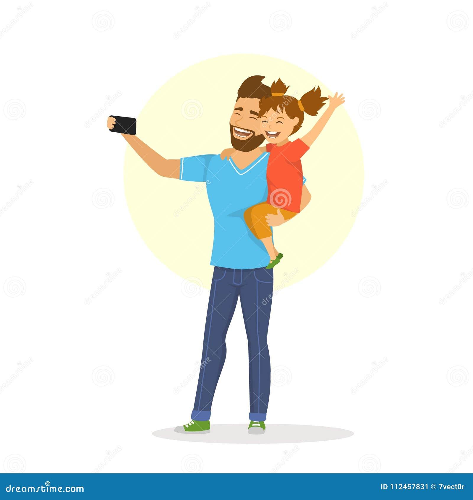 Πατέρας και κόρη που παίρνουν selfie