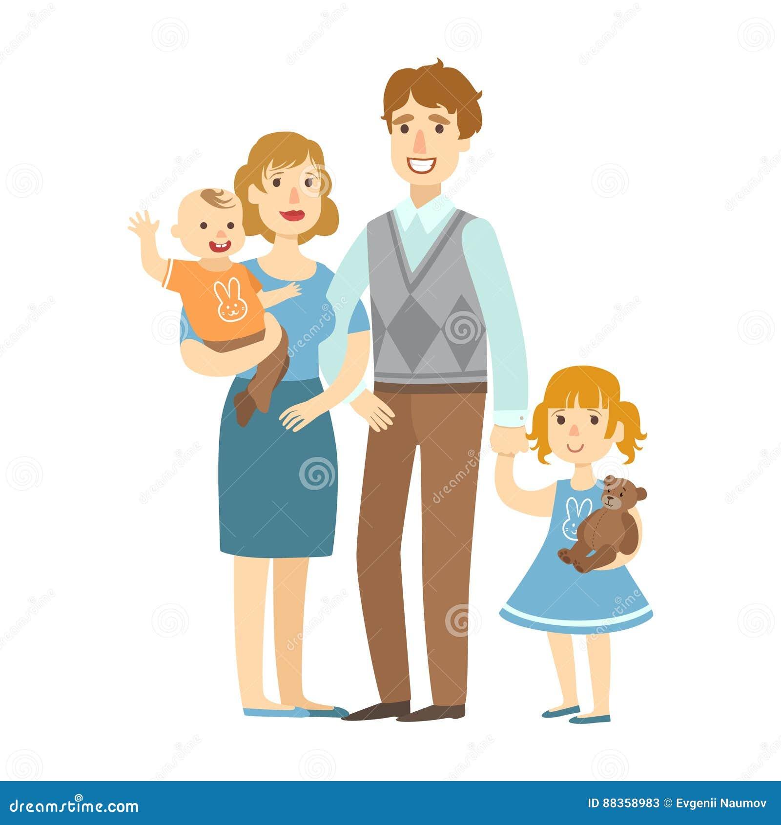 Πατέρας, μητέρα, αγοράκι και λίγη κόρη, απεικόνιση από την ευτυχή οικογενειακή σειρά αγάπης