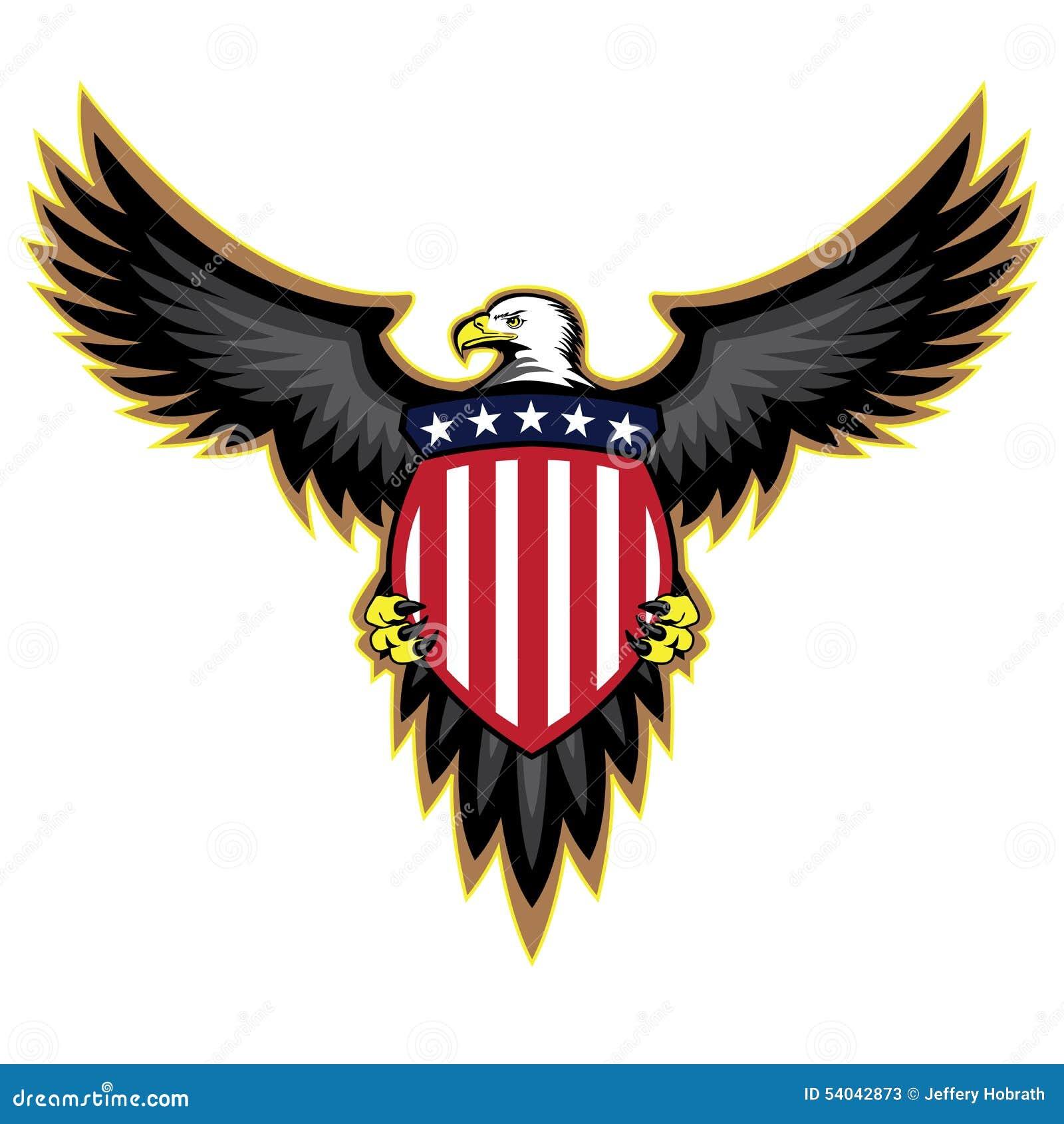 Πατριωτικός αμερικανικός αετός, φτερά που διαδίδονται, ασπίδα εκμετάλλευσης