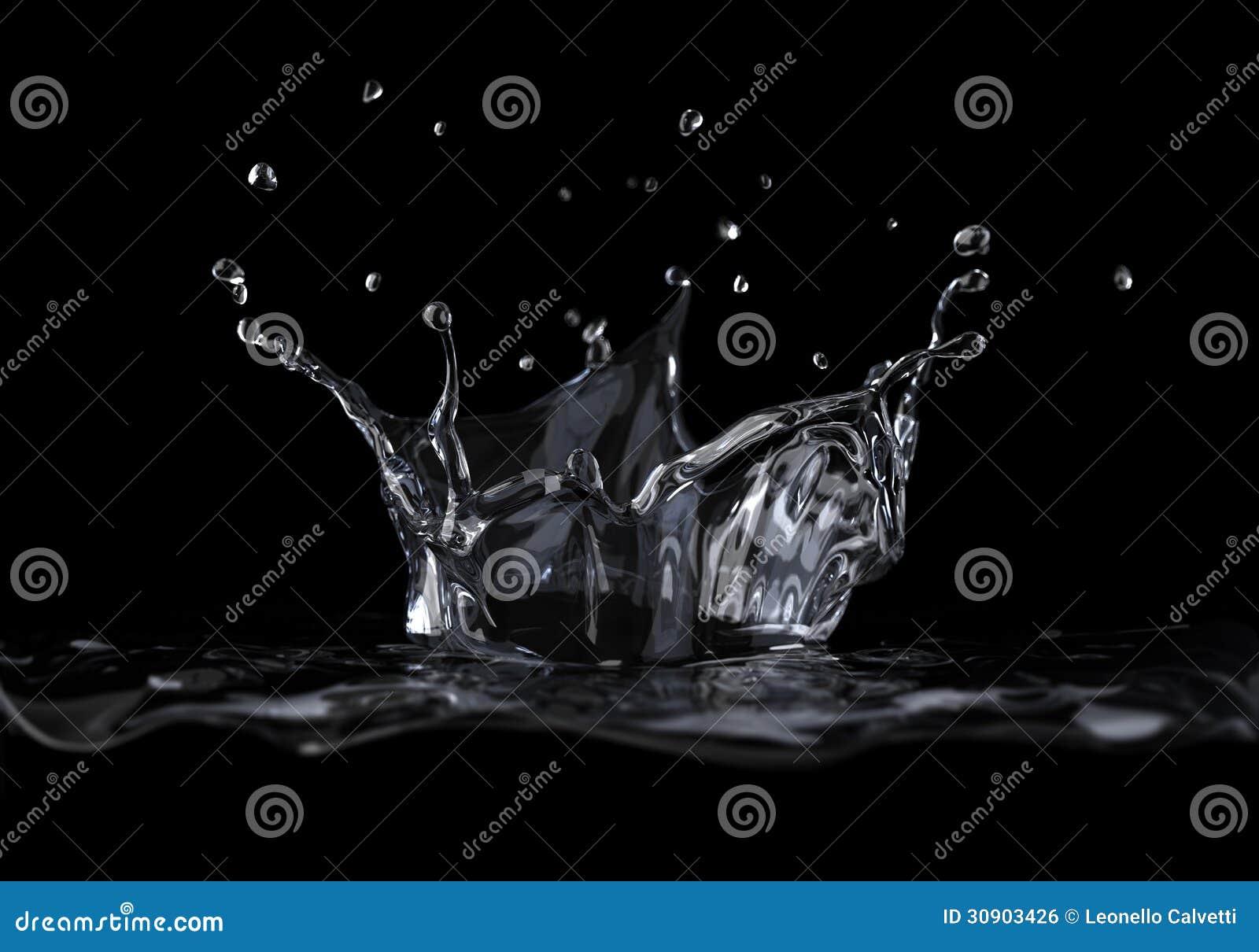 Παφλασμός κορωνών νερού που αντιμετωπίζεται από μια πλευρά, στο μαύρο υπόβαθρο.