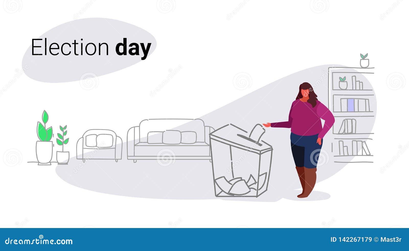 Παχύς παχύσαρκος ψηφοφόρος γυναικών έννοιας ημέρας εκλογής που βάζει τον κατάλογο ψήφου εγγράφου στο πεδίο κατά τη διάρκεια συνόλ