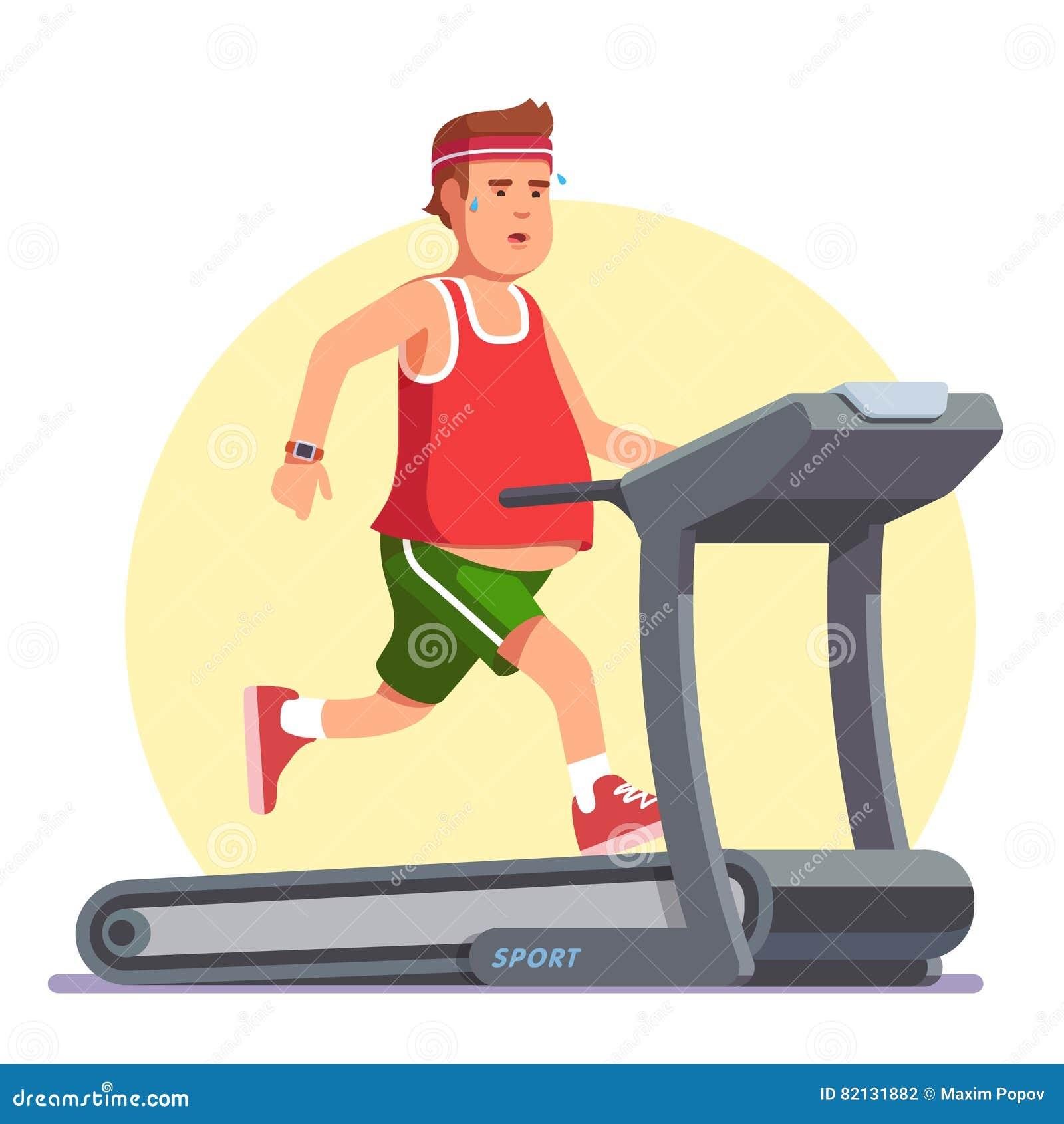 Παχύσαρκος νεαρός άνδρας που τρέχει treadmill