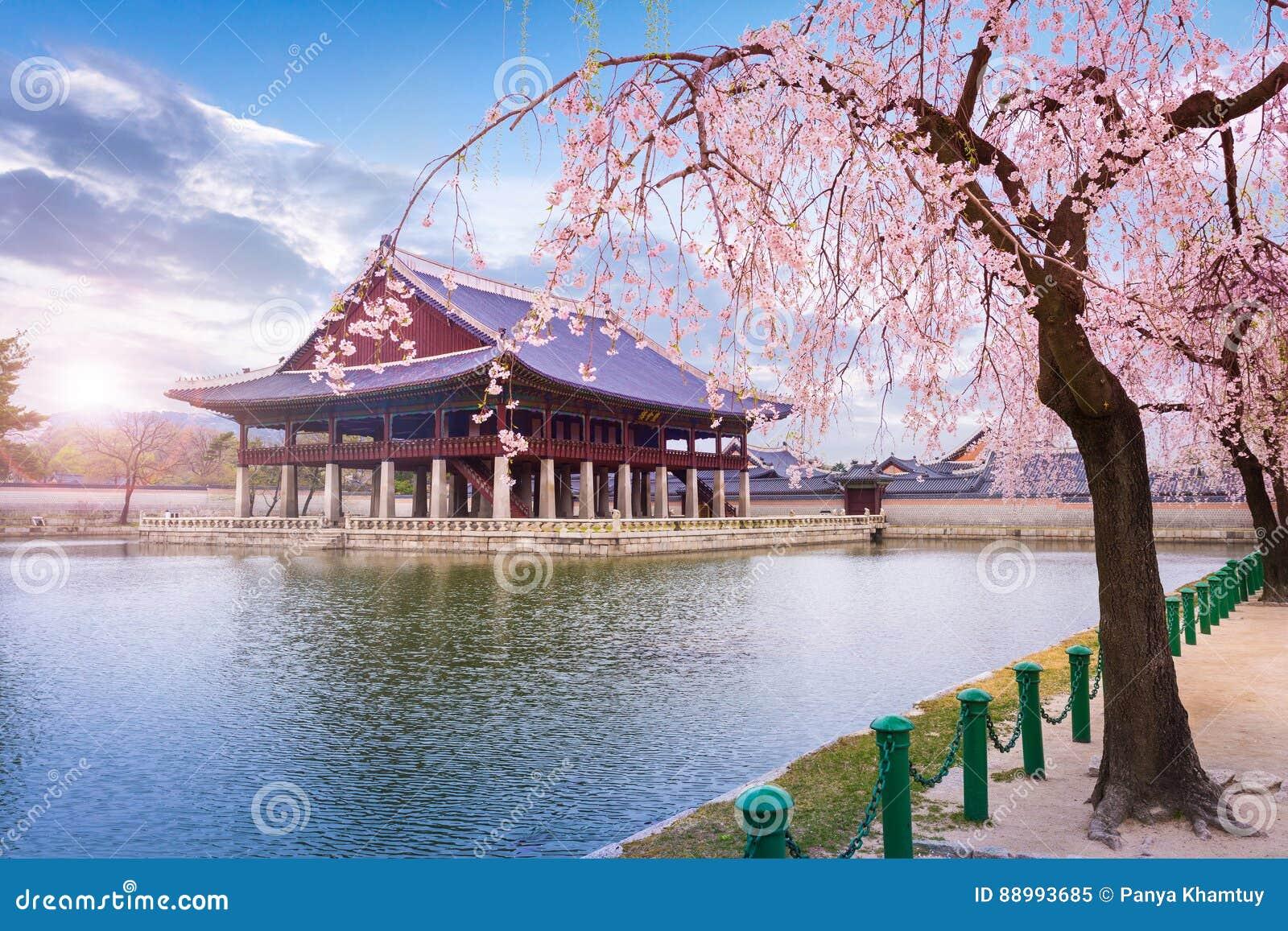 Παλάτι την άνοιξη Νότια Κορέα Gyeongbokgung