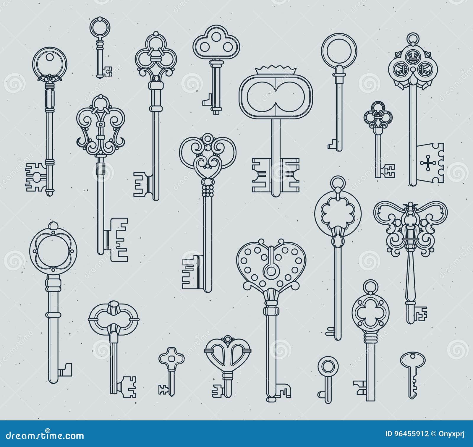 Παλαιά κλειδιά καθορισμένα Συρμένες οι χέρι μεσαιωνικές διανυσματικές απεικονίσεις των παλαιών αντικειμένων απομονώνουν στο λευκό