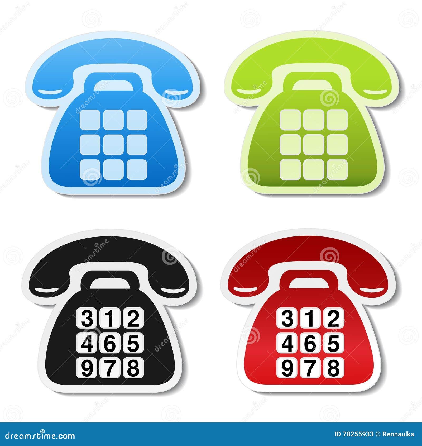 Παλαιά τηλεφωνικά σύμβολα στο άσπρο υπόβαθρο Ετικέτα επαφών στο μπλε, πράσινο, μαύρο και κόκκινο χρώμα Οι τηλεφωνικές αυτοκόλλητε