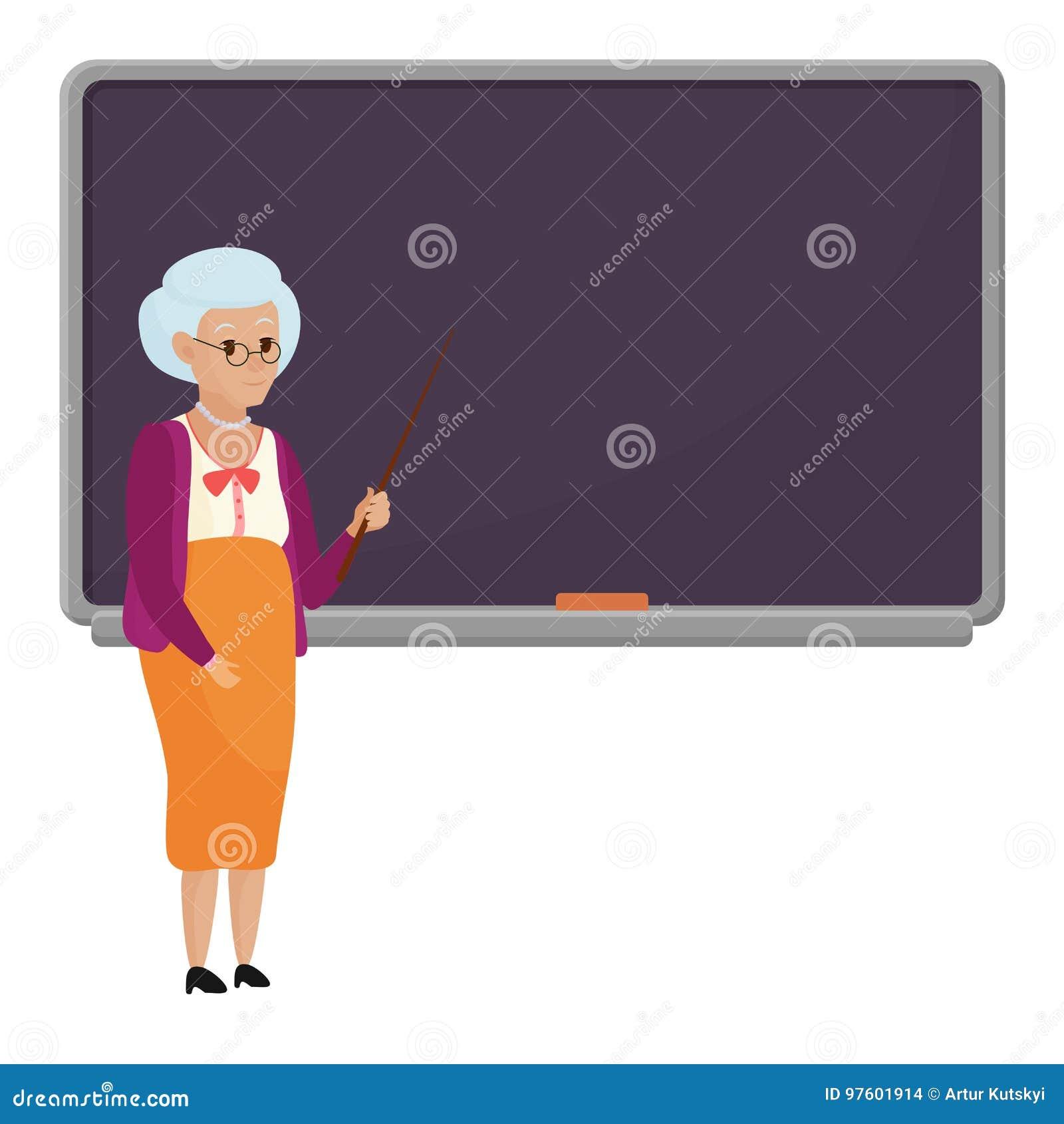 Παλαιός θηλυκός δάσκαλος κινούμενων σχεδίων που στέκεται μπροστά από την κενή διανυσματική απεικόνιση σχολικών πινάκων Δάσκαλος γ