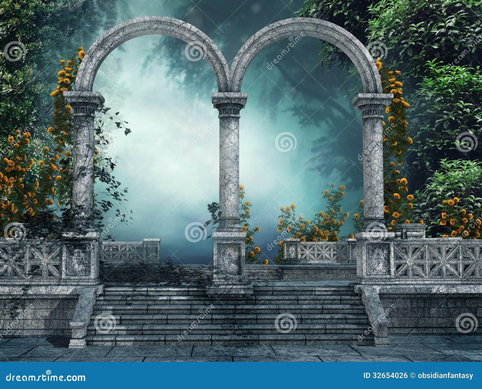 Παλαιός κήπος με τις αψίδες