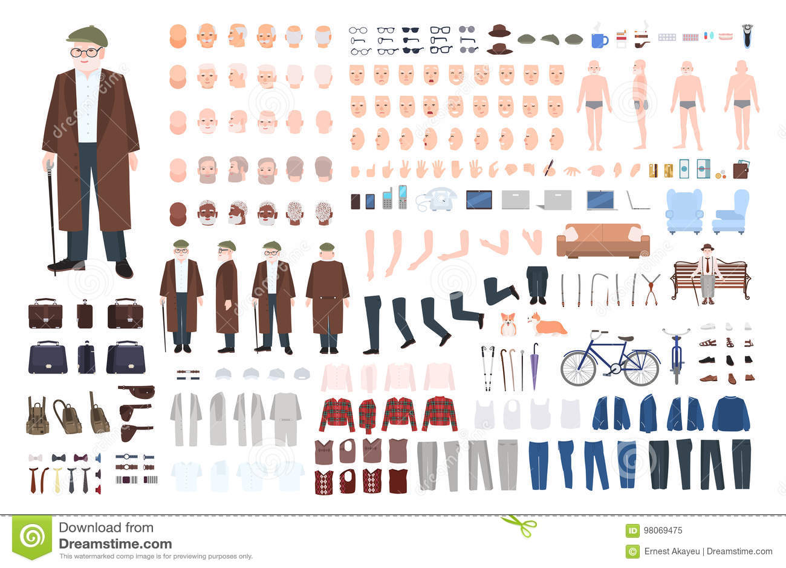 Παλαιός κατασκευαστής χαρακτήρα ατόμων, σύνολο δημιουργιών Διαφορετικές στάσεις παππούδων, hairstyle, πρόσωπο, πόδια, χέρια, ενδύ