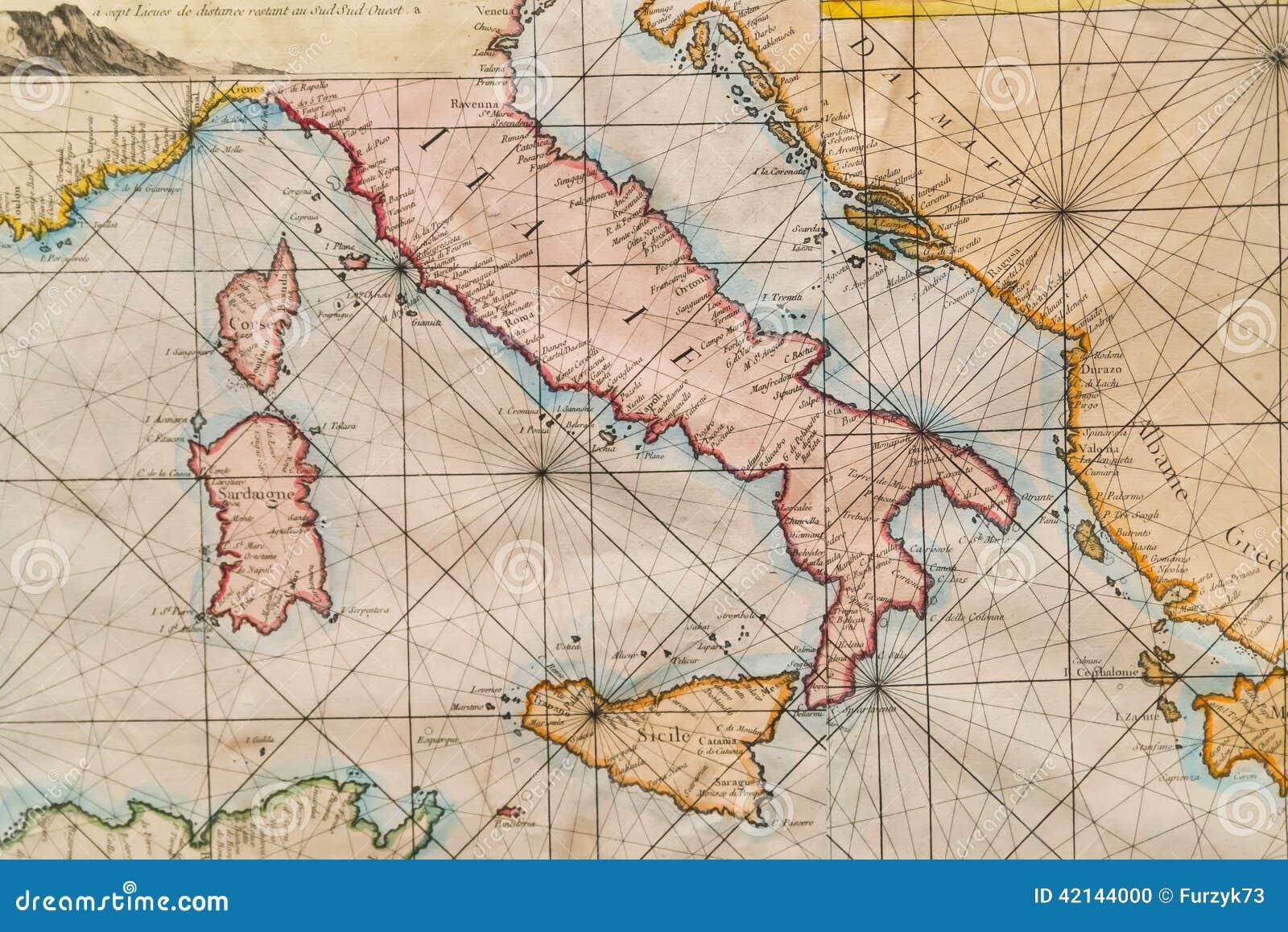 Παλαιός χάρτης της Ιταλίας, της Σικελίας, της Κορσικής, της Κροατίας και της Σαρδηνίας