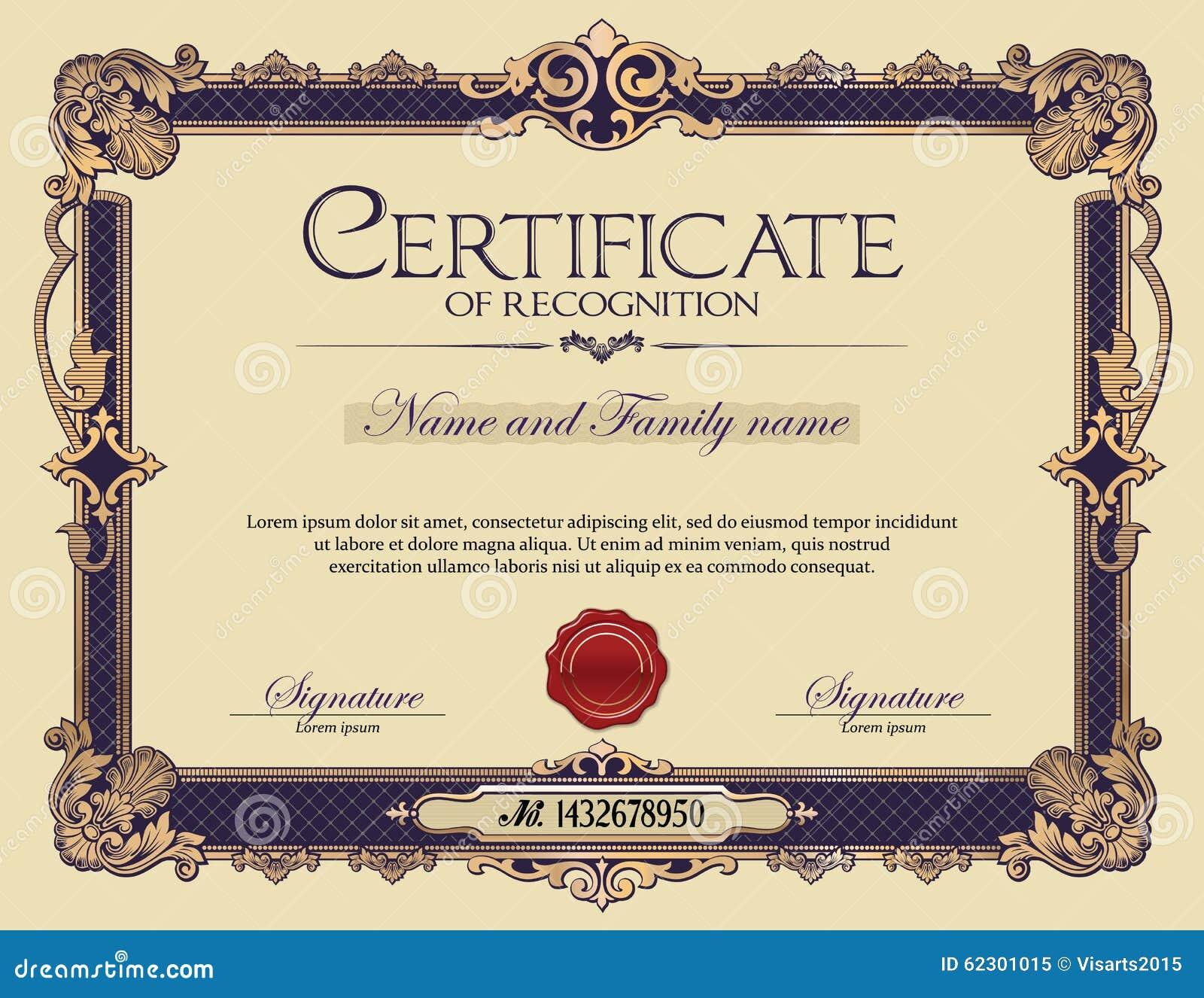 Παλαιό εκλεκτής ποιότητας πιστοποιητικό πλαισίων διακοσμήσεων της αναγνώρισης