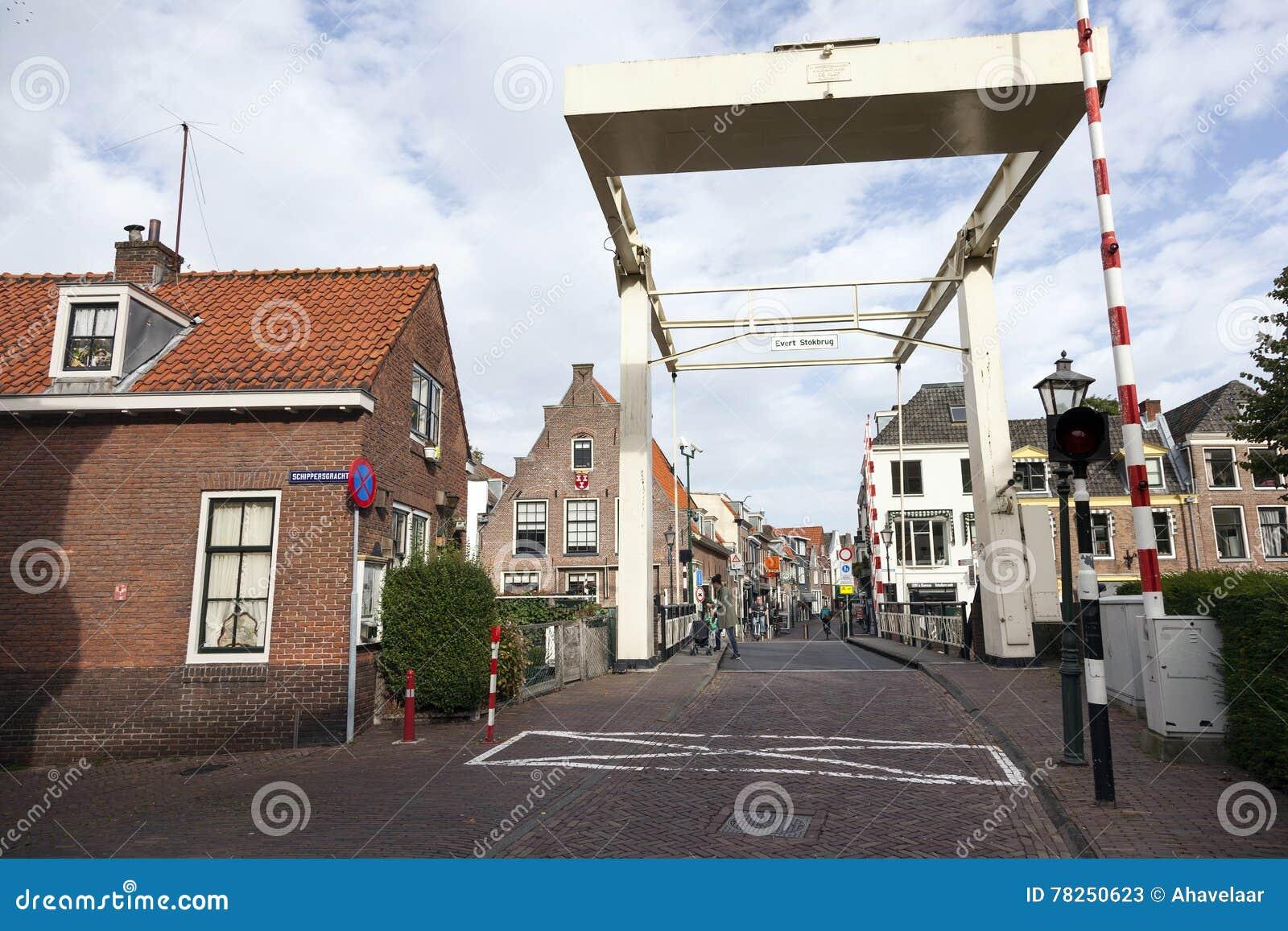 Παλαιό ξύλινο drawbridge στο κέντρο Maarssen