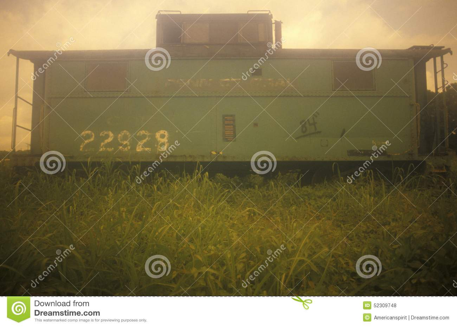Παλαιό πράσινο boxcar σιδηροδρόμου επάνω σε έναν λόφο στο Κάιρο, Ιλλινόις