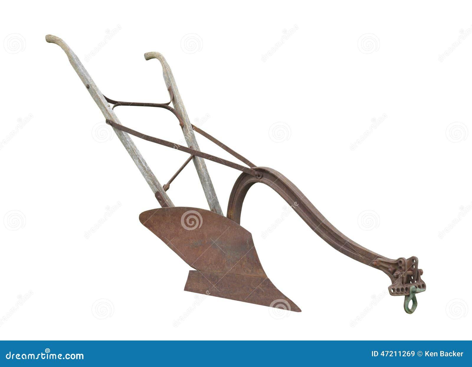 Παλαιό συρμένο άλογο άροτρο που απομονώνεται