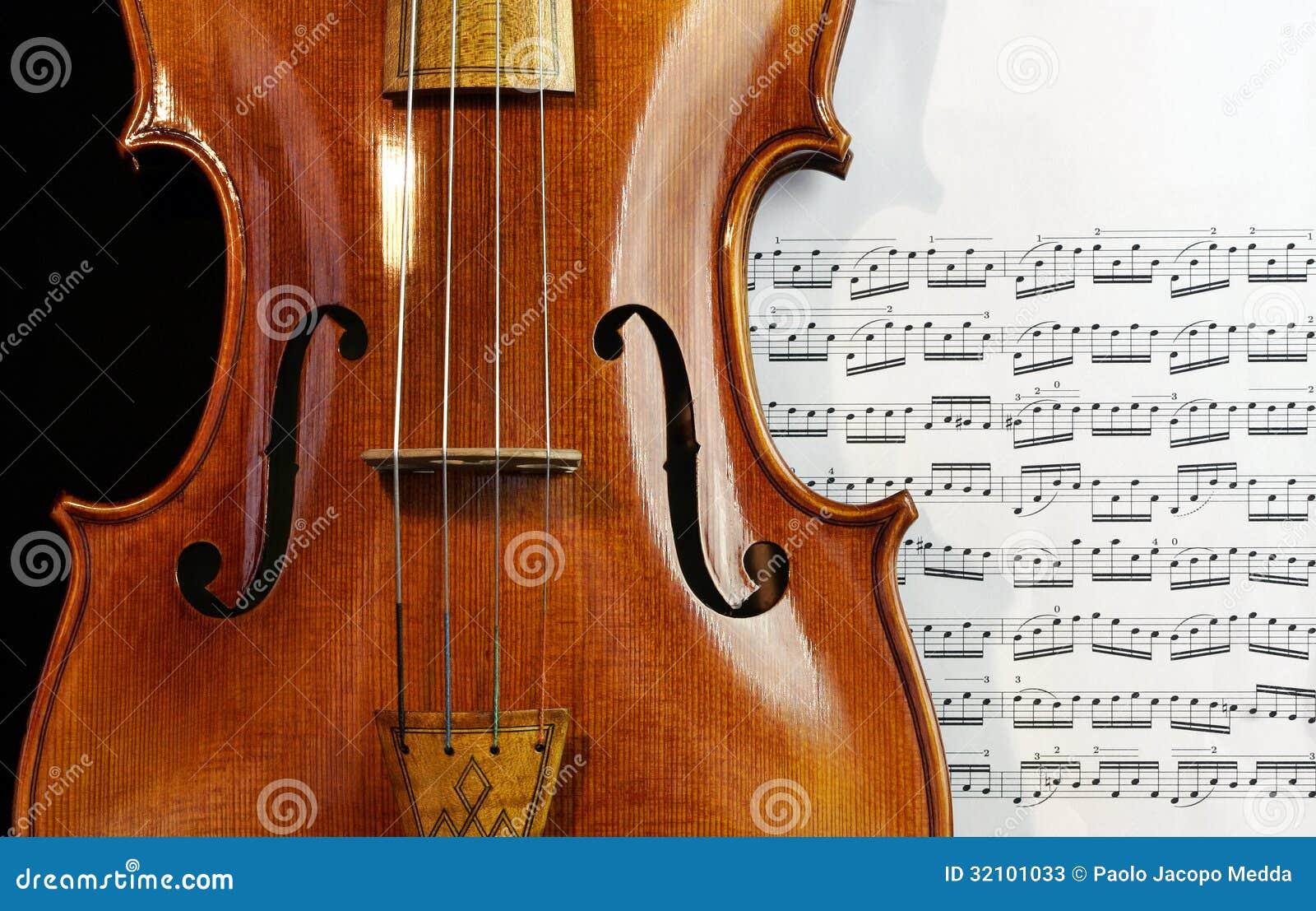 Παλαιό Viola στο φύλλο μουσικής
