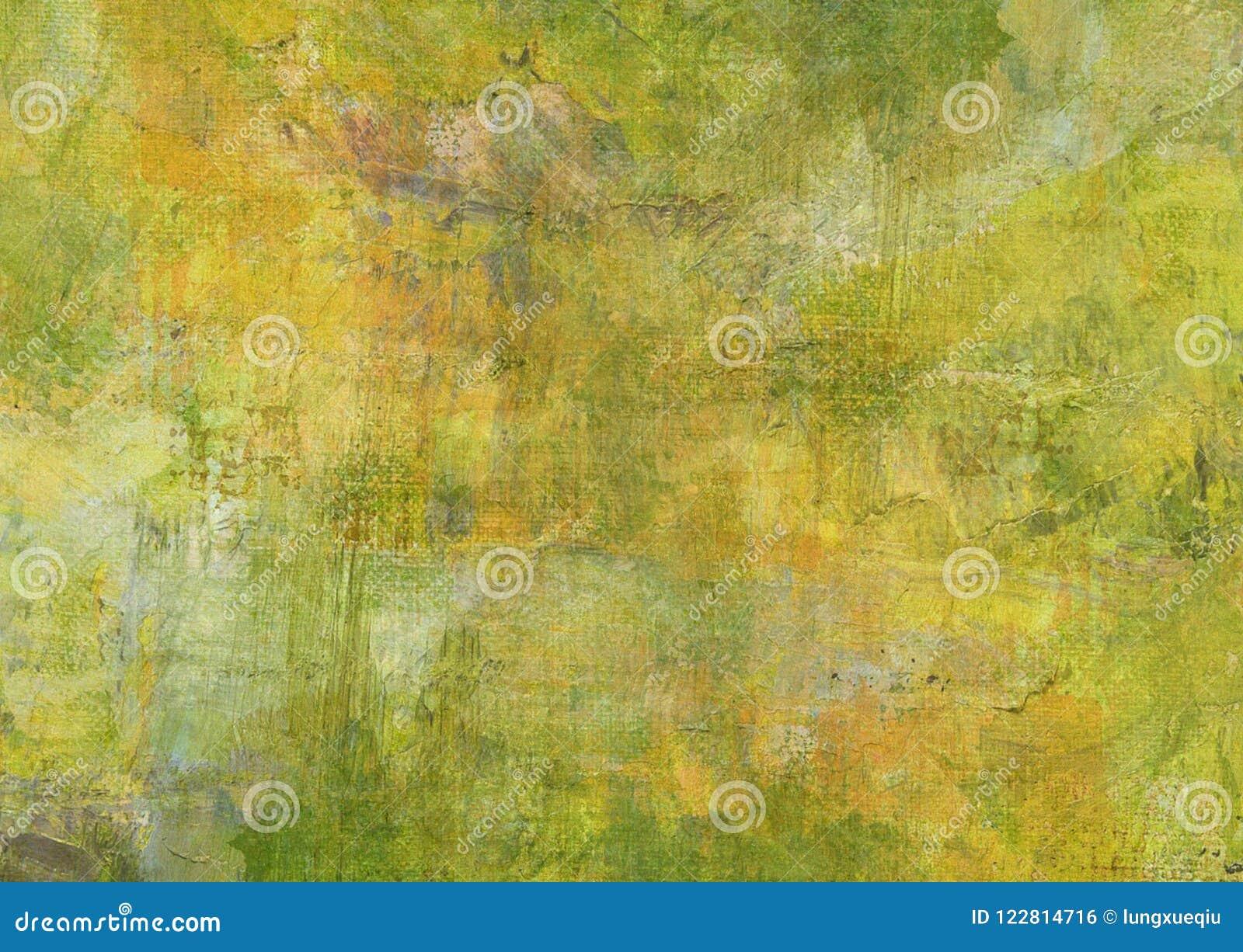 Περίληψη καμβά που χρωματίζει την κιτρινοπράσινη καφετιά σκοτεινή παλαιά σύσταση αποσύνθεσης Grunge σκοτεινή σκουριασμένη διαστρε