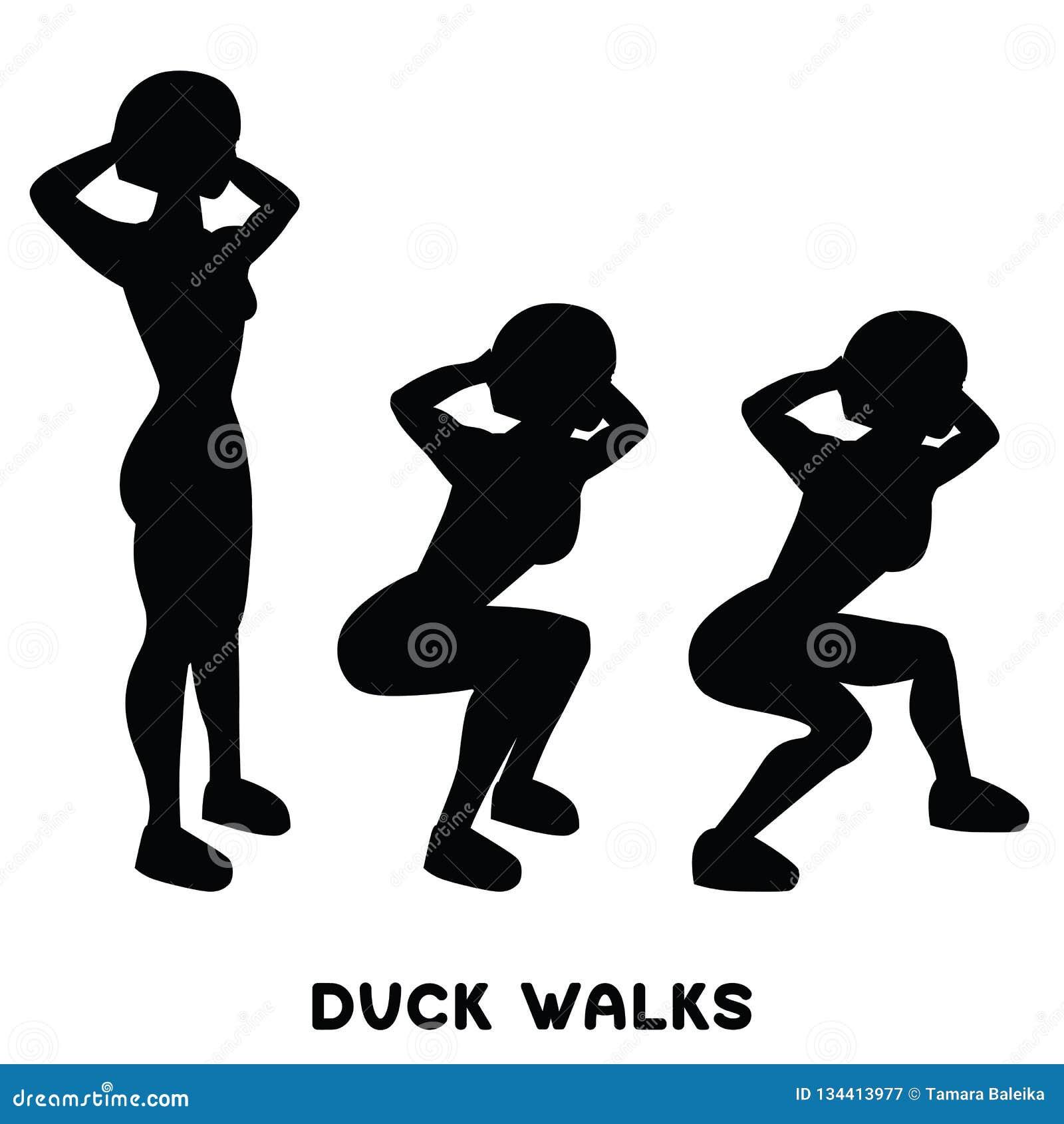 Περίπατοι παπιών squat Αθλητικό exersice Σκιαγραφίες της γυναίκας που κάνουν την άσκηση Workout, κατάρτιση