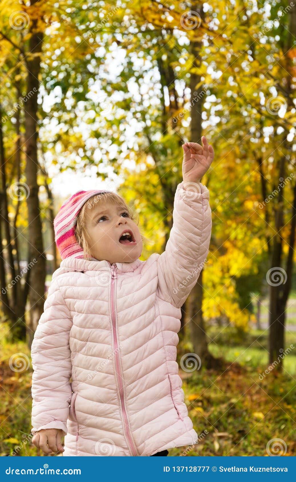 Περίπατος μικρών κοριτσιών στο δάσος φθινοπώρου