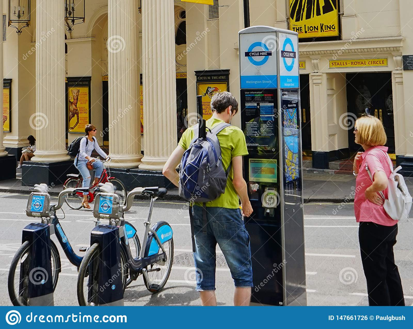 Περίπτερο οδών ενοικίου ποδηλάτων στο West End, Λονδίνο