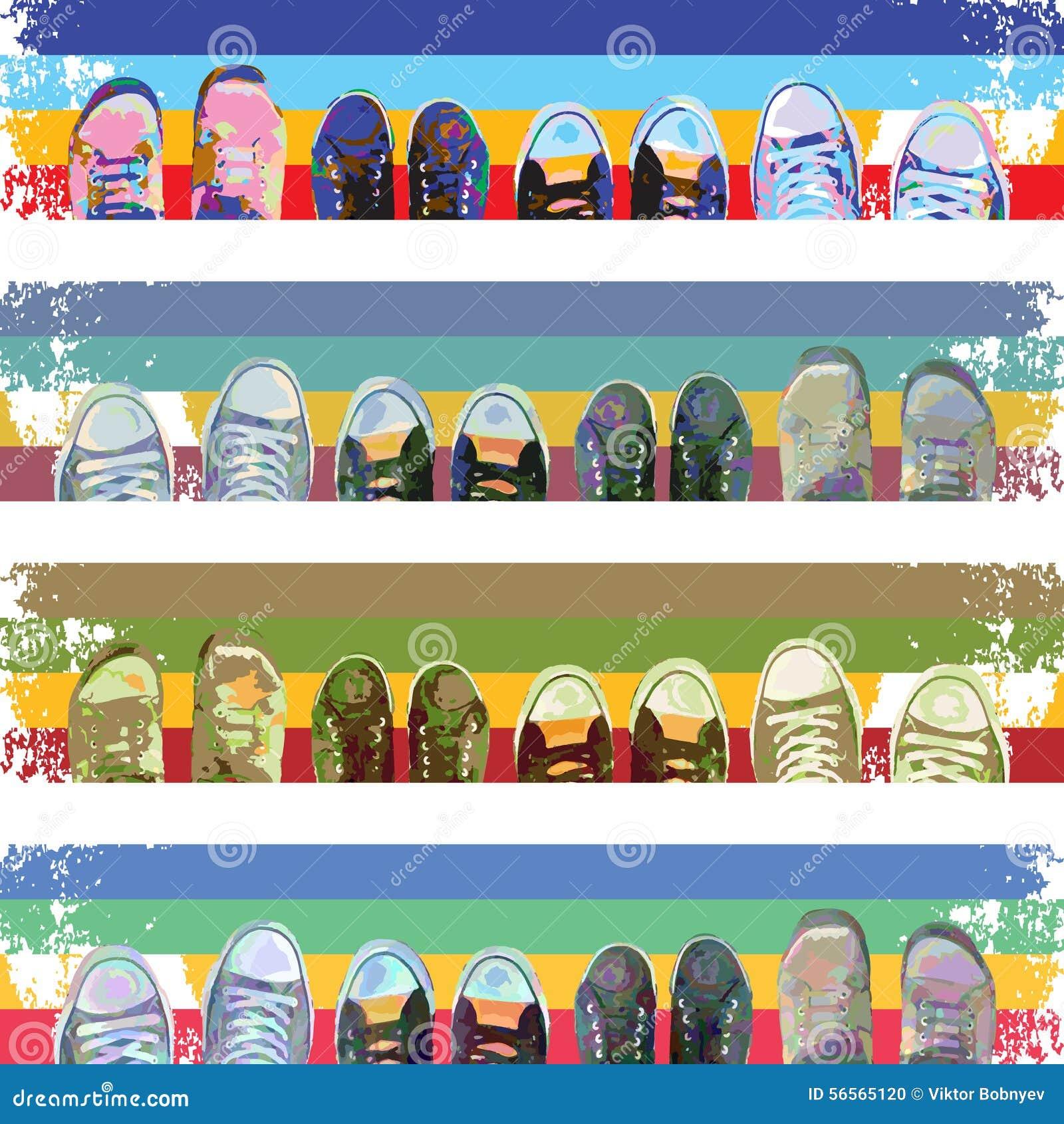 Download Περίληψη πάνινων παπουτσιών Διανυσματική απεικόνιση - εικονογραφία από άτομα, κορδόνι: 56565120