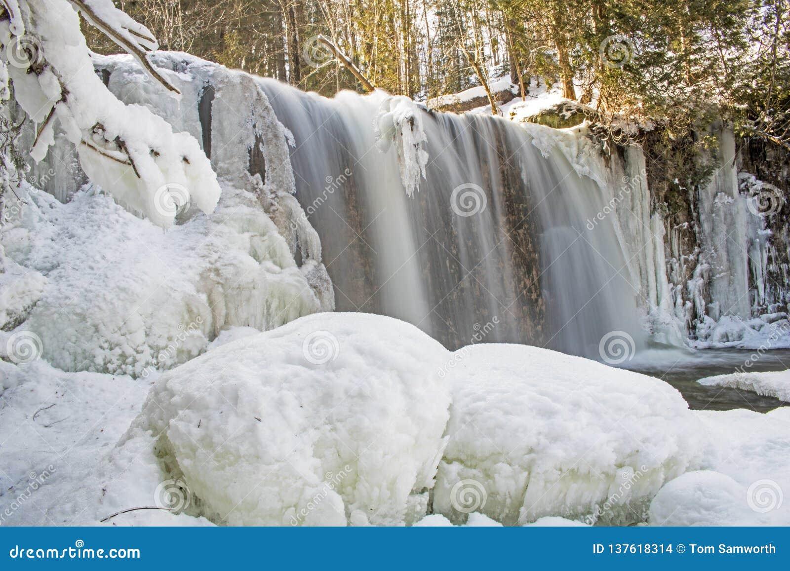 Περικοπές ποταμών Boyne μέσω του πάγου και του χιονιού στις πτώσεις Hoggs