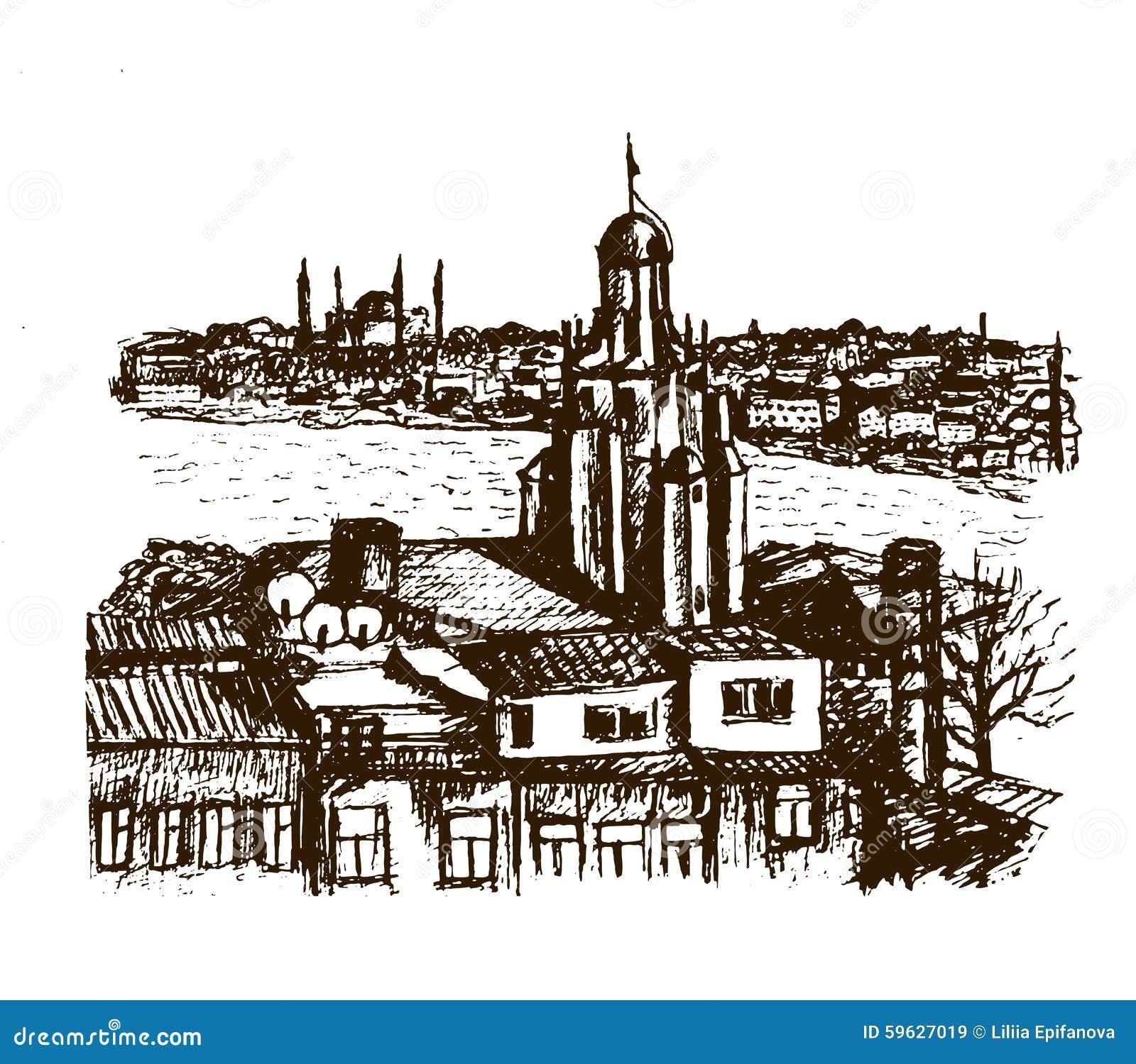 Περιοχή Beyglou άποψης εικονικής παράστασης πόλης με τον πύργο Galata στη Ιστανμπούλ, γραφική απεικόνιση σκίτσων