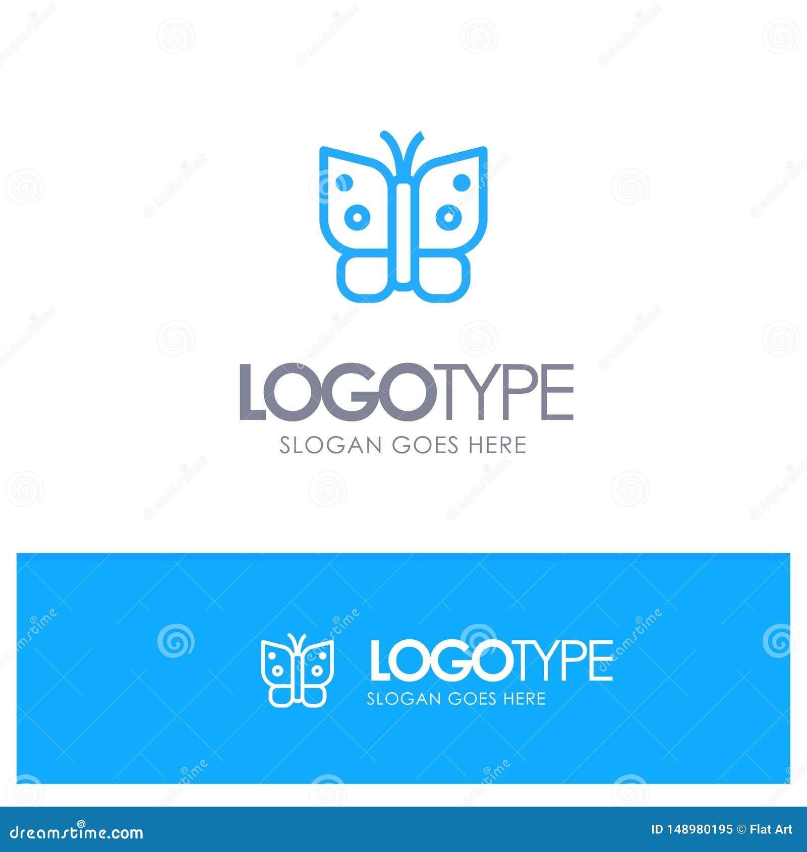 Πεταλούδα, ελευθερία, έντομο, μπλε ύφος γραμμών λογότυπων φτερών